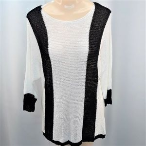 Chicos Long Black and White Sweater Size 1 Womens